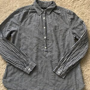 Jcrew Gathered Popover Shirt in Microgingham